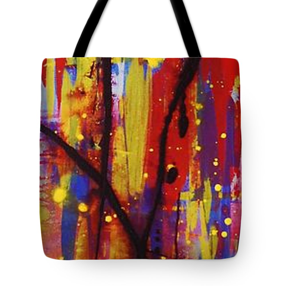 Abstract Tote Bag featuring the painting Urban Carnival by Lauren Luna