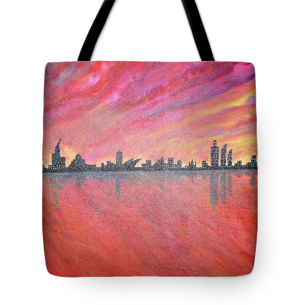 Urban Tote Bag featuring the painting Urban Cityscapes In Twilight by Madhusudan Pattanaik