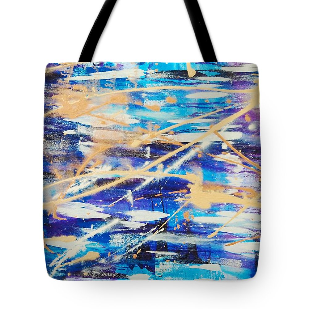 Abstract Tote Bag featuring the painting Urban Footprint by Lauren Luna