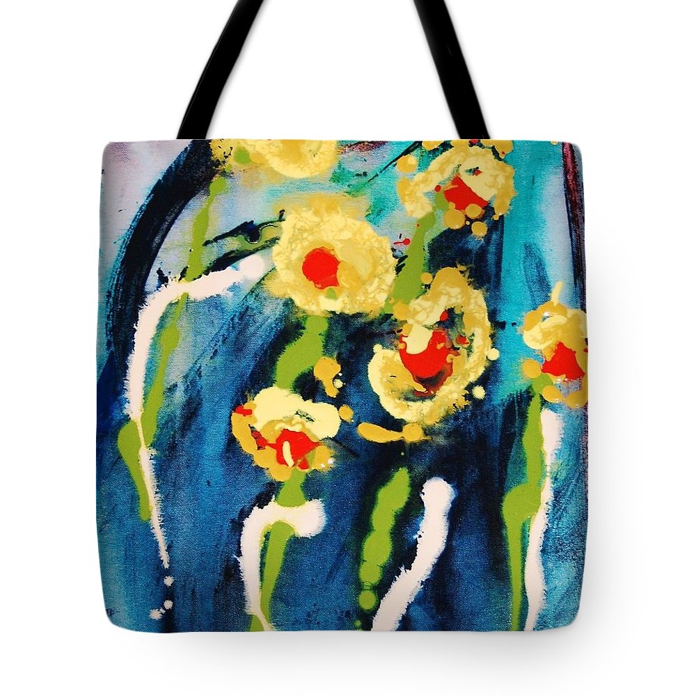 Abstract Tote Bag featuring the painting Urban Garden by Lauren Luna