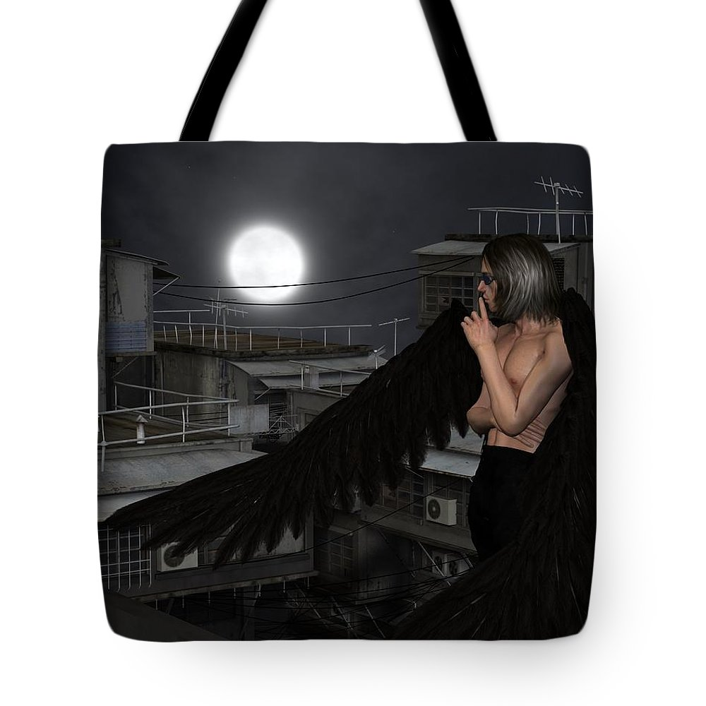 Angel Tote Bag featuring the digital art Urban Guardian Angel - Standing by Fairy Fantasies