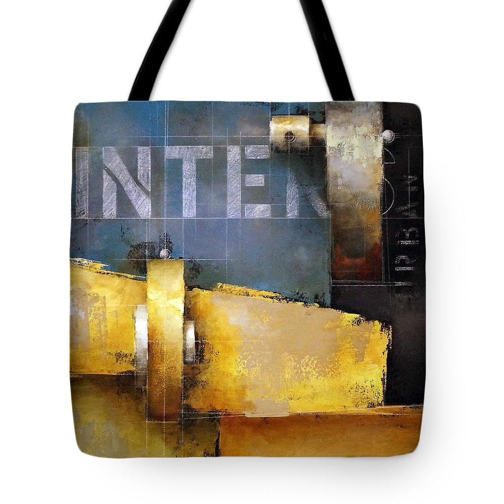 Bermanesque Tote Bag featuring the painting 15.020 - Urban Intersection by Ken Berman