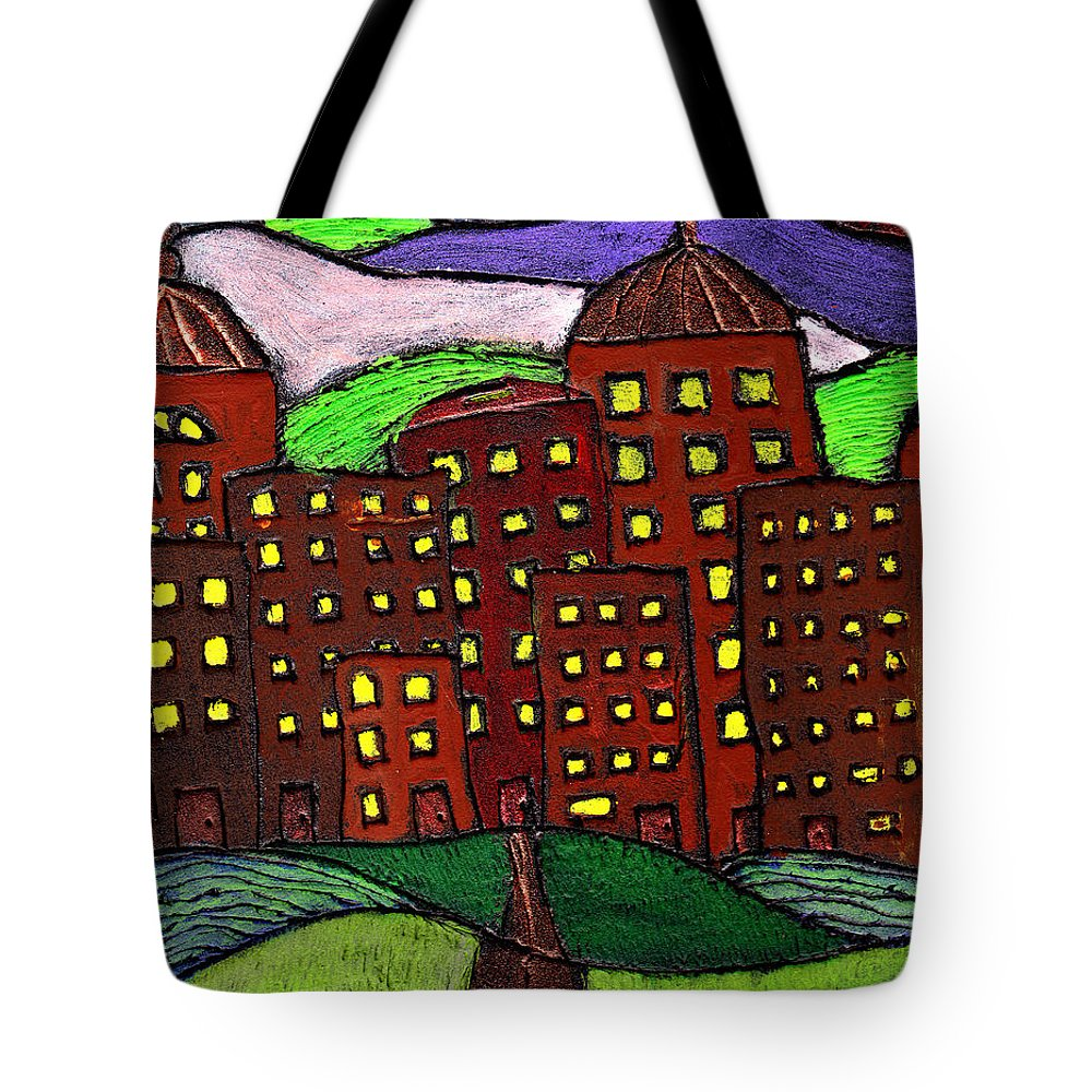 City Scape Tote Bag featuring the painting Urban Legand by Wayne Potrafka
