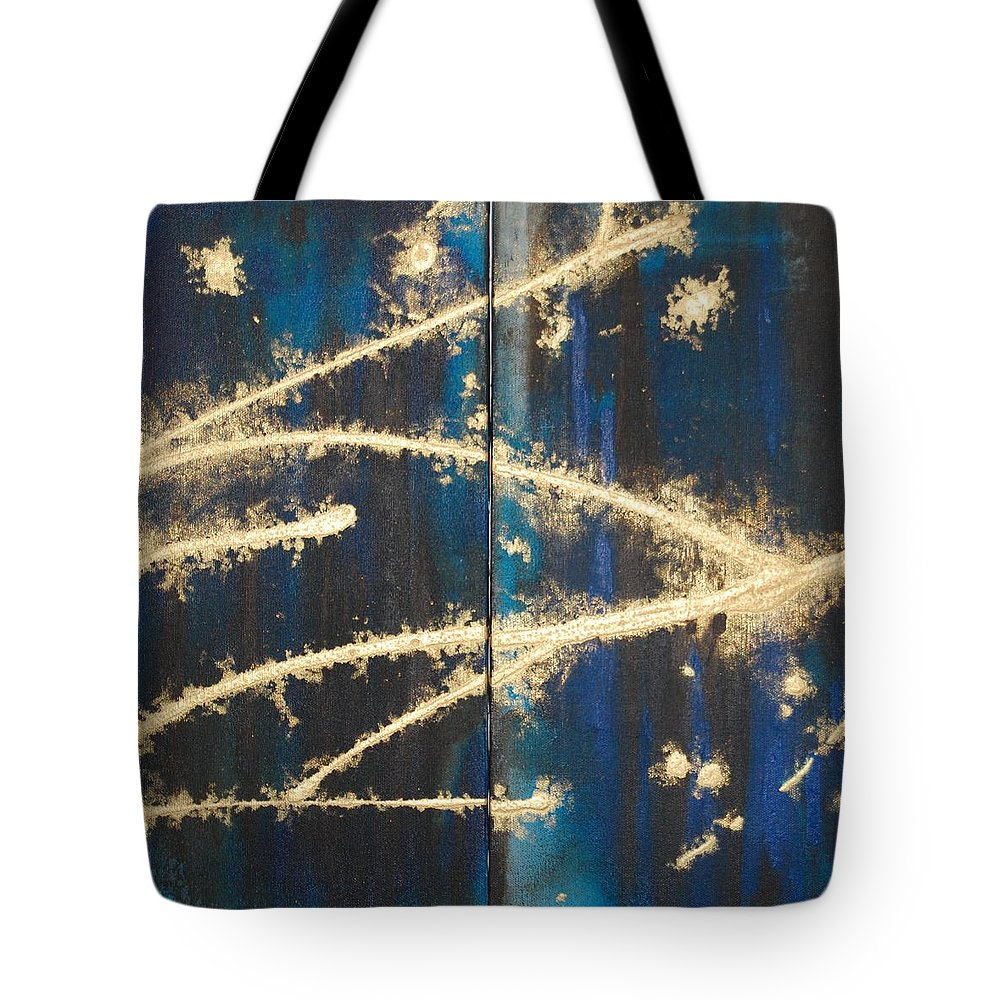 Night Tote Bag featuring the painting Urban Nightscape by Lauren Luna