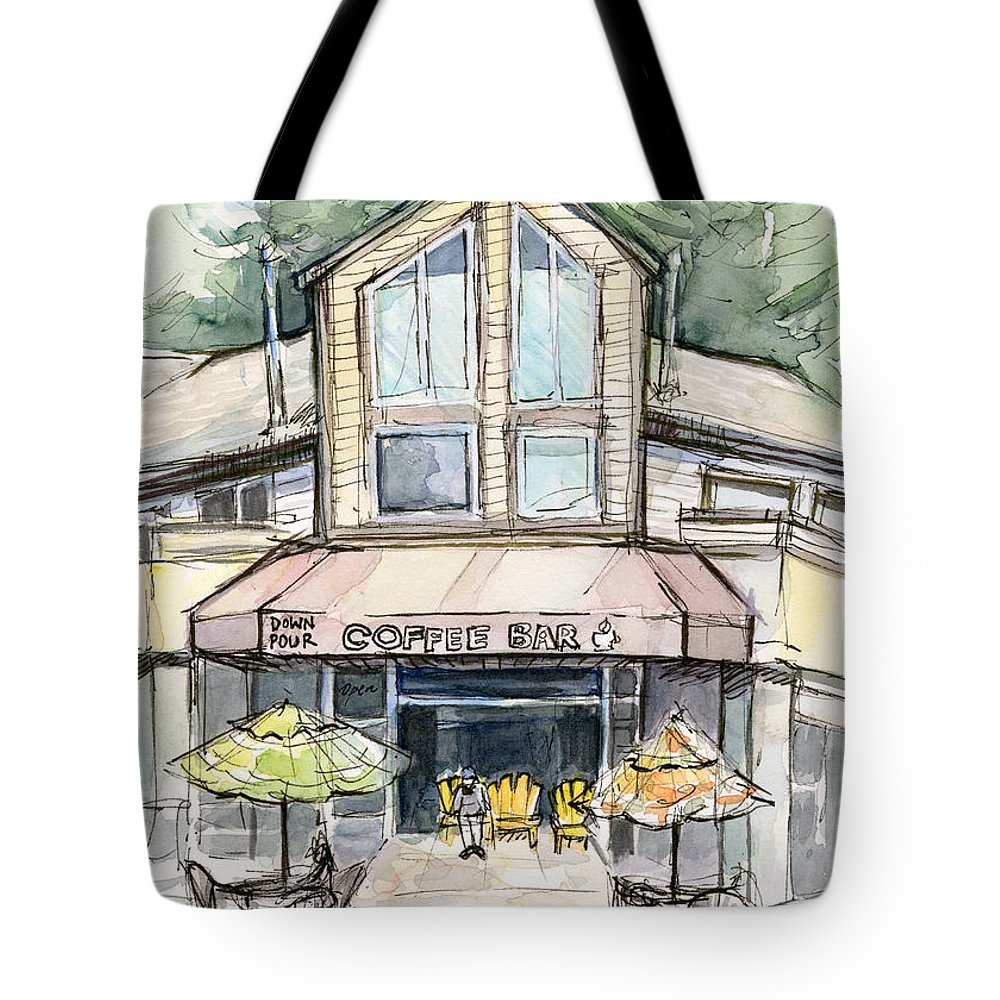 Bridle Trails Tote Bag featuring the painting Coffee Shop Watercolor Sketch by Olga Shvartsur