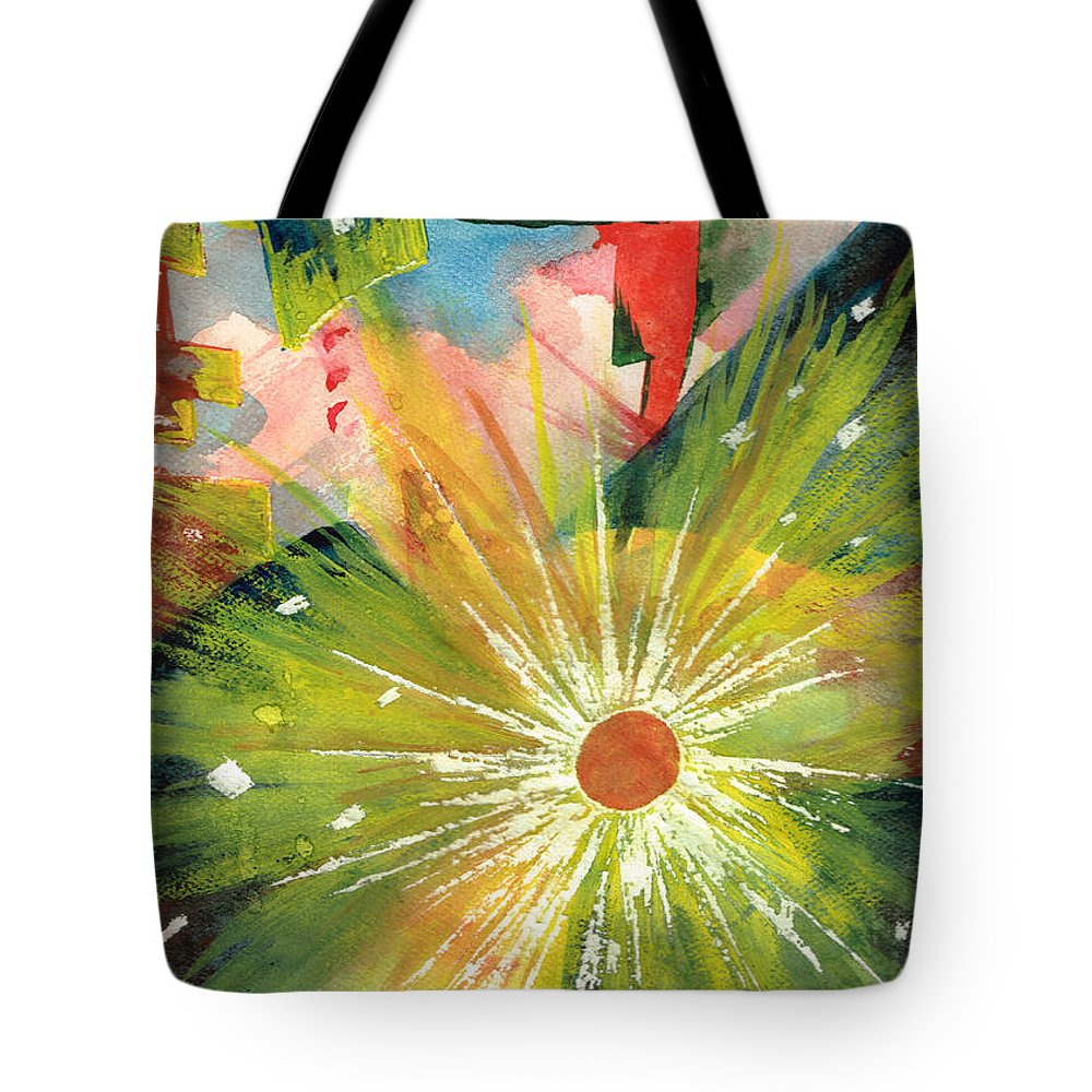 Downtown Tote Bag featuring the painting Urban Sunburst by Andrew Gillette