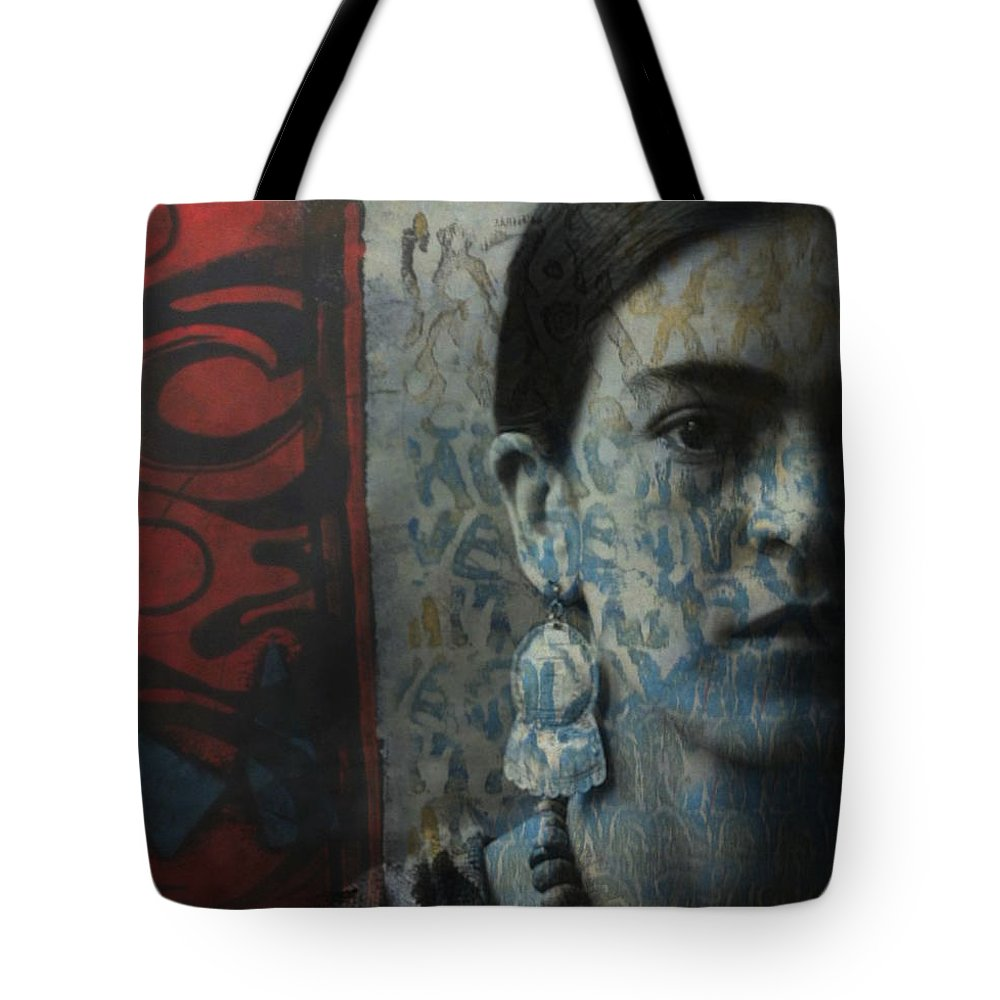 Frida Kahlo Tote Bag featuring the digital art Us And Them - Frida Kahlo by Paul Lovering