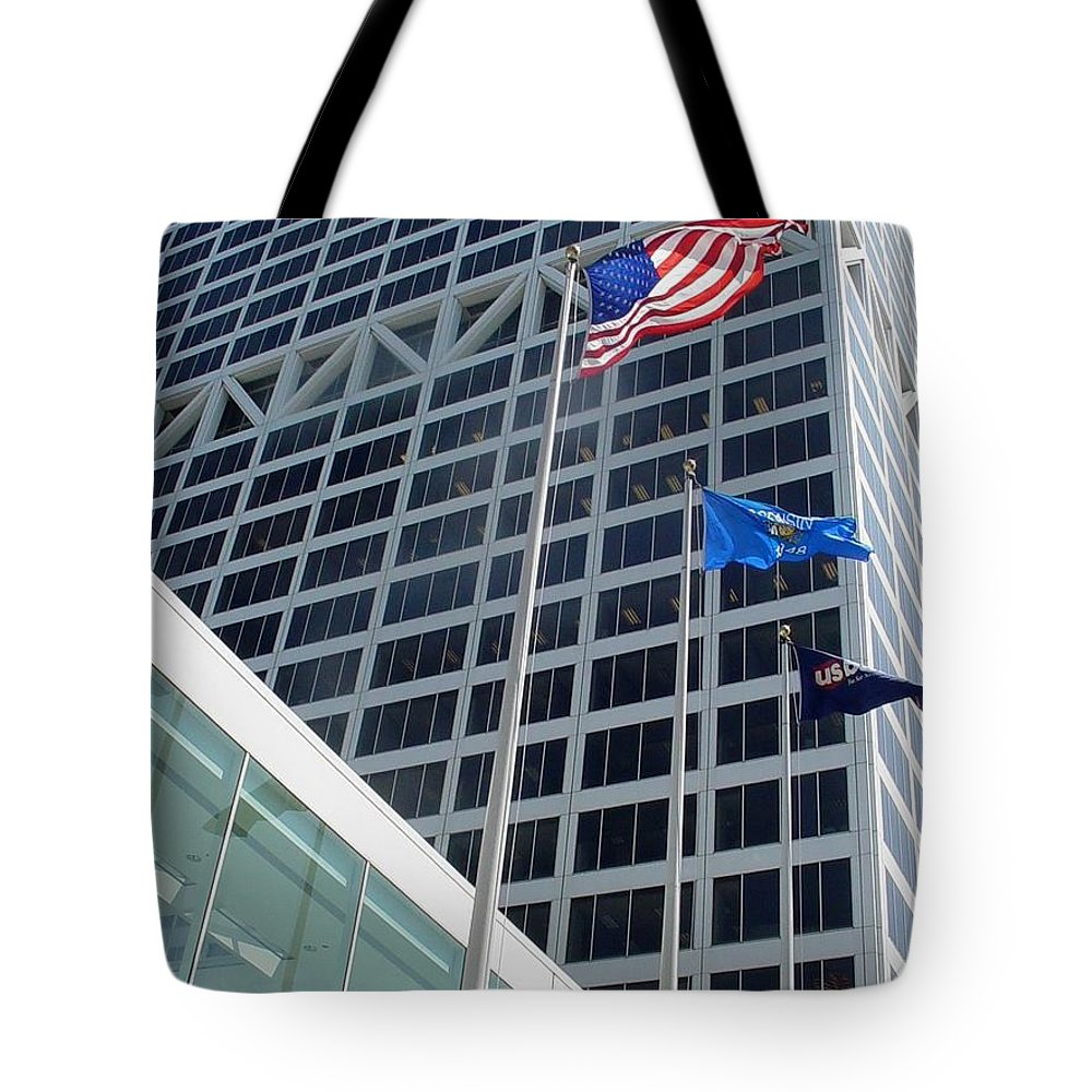 Us Bank Tote Bag featuring the photograph Us Bank With Flags by Anita Burgermeister