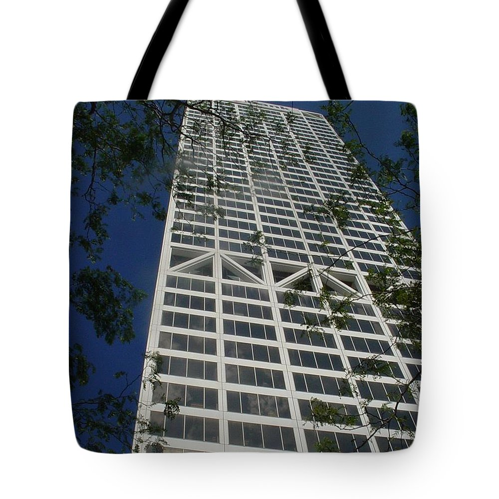 Us Bank Tote Bag featuring the photograph Us Bank With Trees by Anita Burgermeister