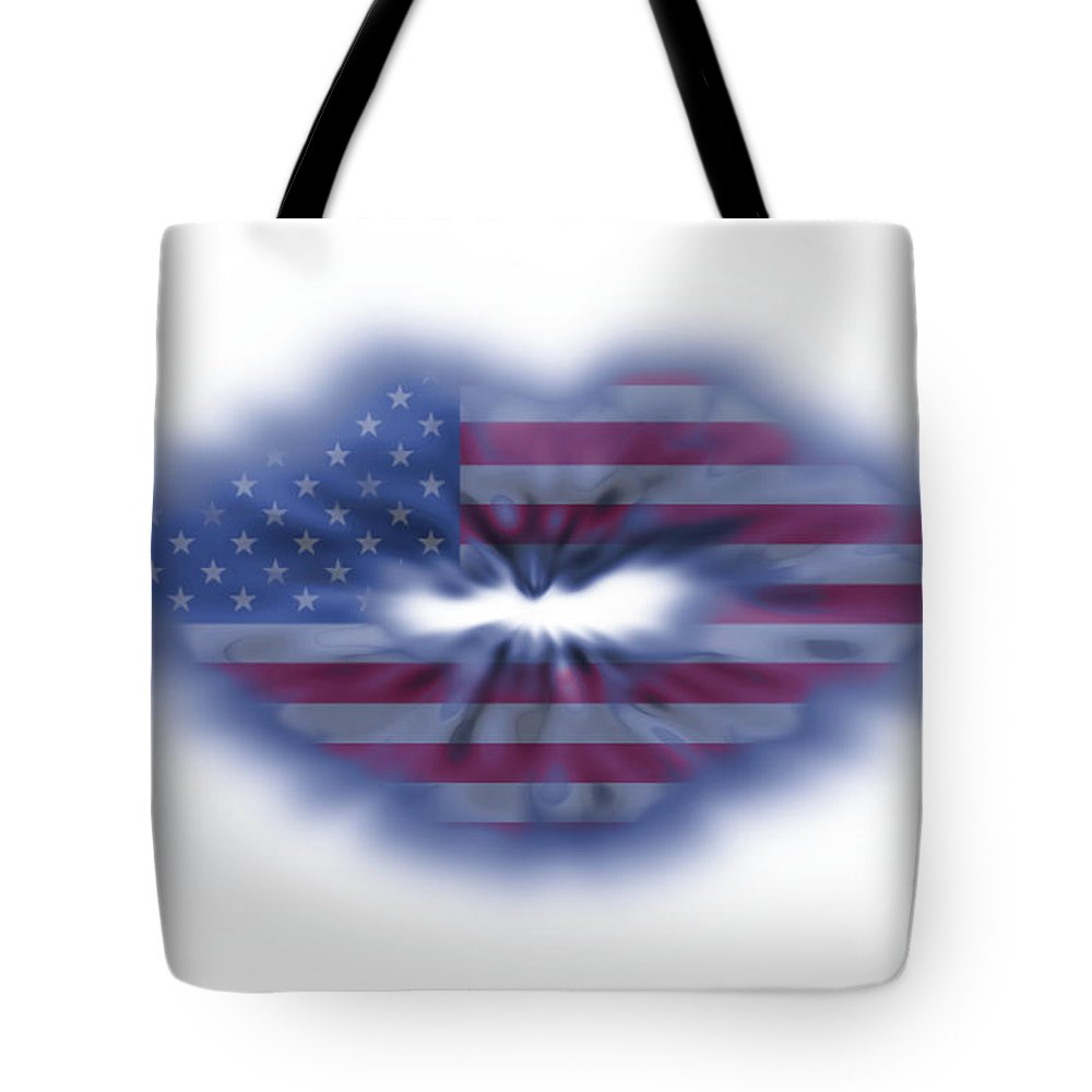 Abstract Tote Bag featuring the photograph Usa Flag Lips by Simon Bratt Photography LRPS