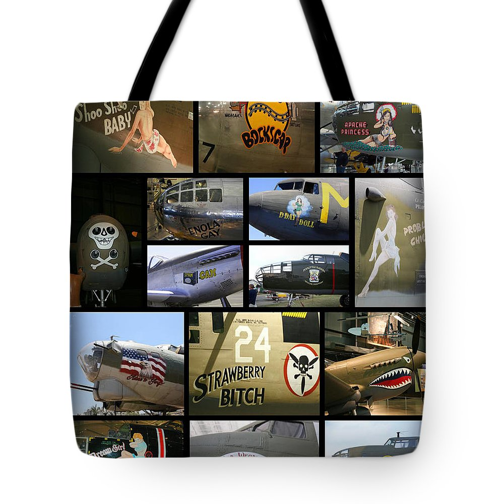 Usaaf Tote Bag featuring the photograph Usaaf Nose Art Of World War II by Tommy Anderson