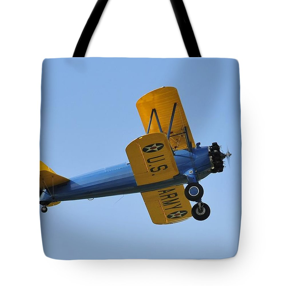 Biplane Tote Bag featuring the photograph U.s.army Biplane by David Lee Thompson