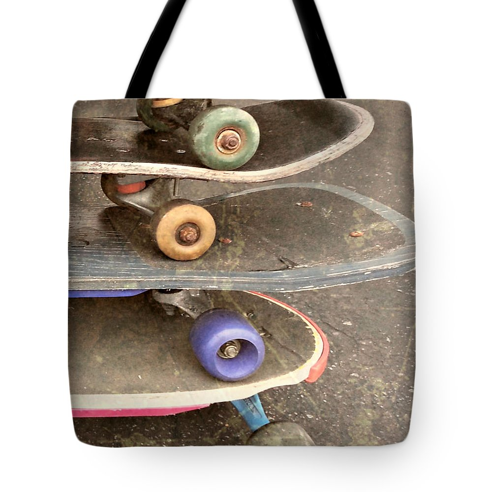 Skateboards Tote Bag featuring the photograph Used Skateboards by Kym Williams-Ali