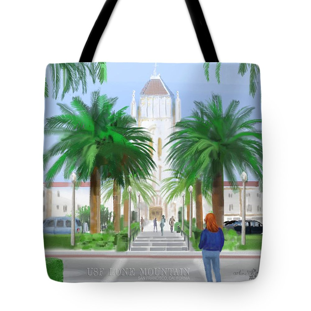 Usf Tote Bag featuring the digital art Usf Lone Mountain San Francisco Ca by Arline Wagner