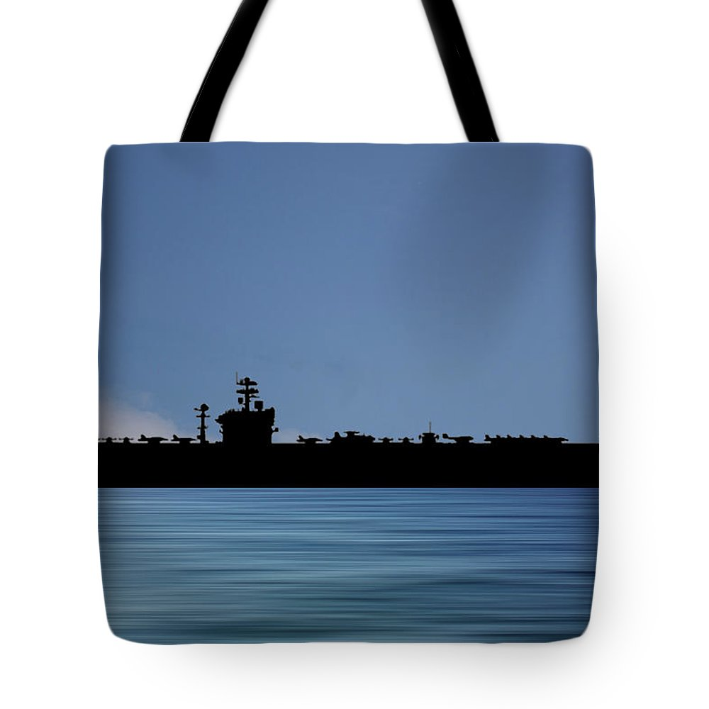 Uss Abraham Lincoln Tote Bag featuring the photograph USS Abraham Lincoln 1988 v4 by Smart Aviation