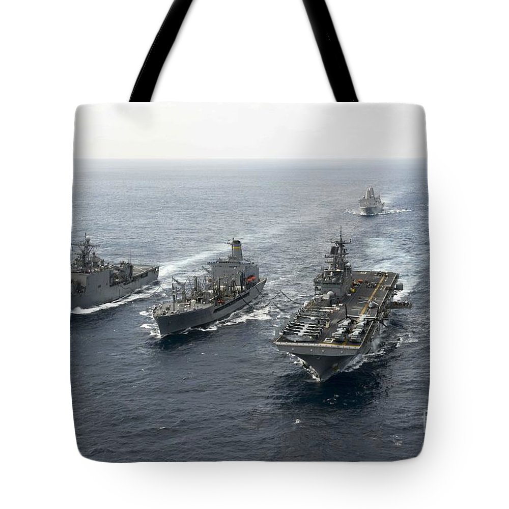 Sailors Tote Bag featuring the painting Uss Ashland by Celestial Images