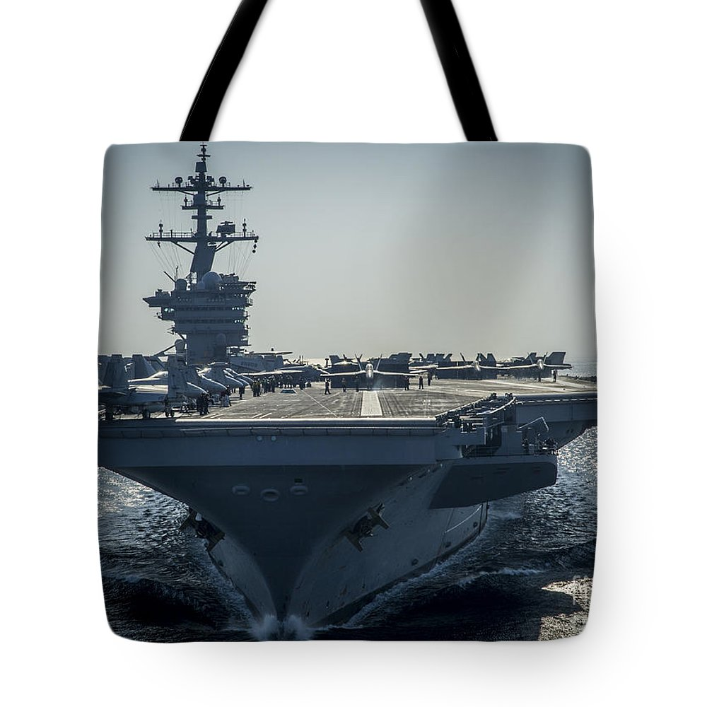 Sailors Tote Bag featuring the painting Uss Carl Vinson by Celestial Images