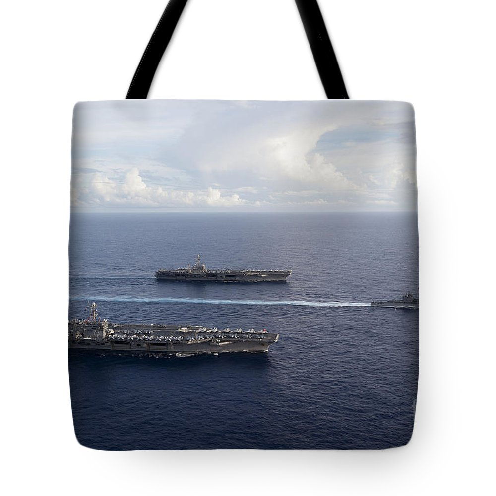 Uss George Washington Tote Bag featuring the photograph Uss George Washington, Uss John C by Stocktrek Images