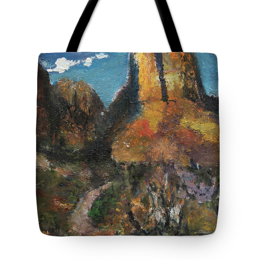 Utah Tote Bag featuring the painting Utah Canyon by Craig Newland