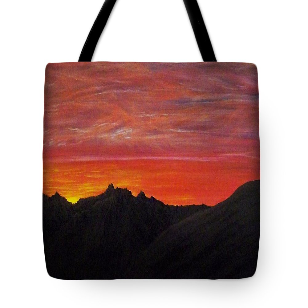 Sunset Tote Bag featuring the painting Utah Sunset by Michael Cuozzo