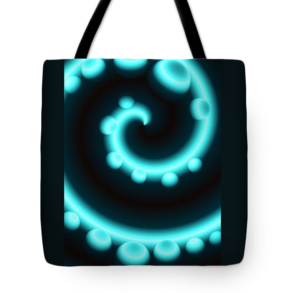 Colorful Tote Bag featuring the digital art V Continuum In Blue by Dale Crum