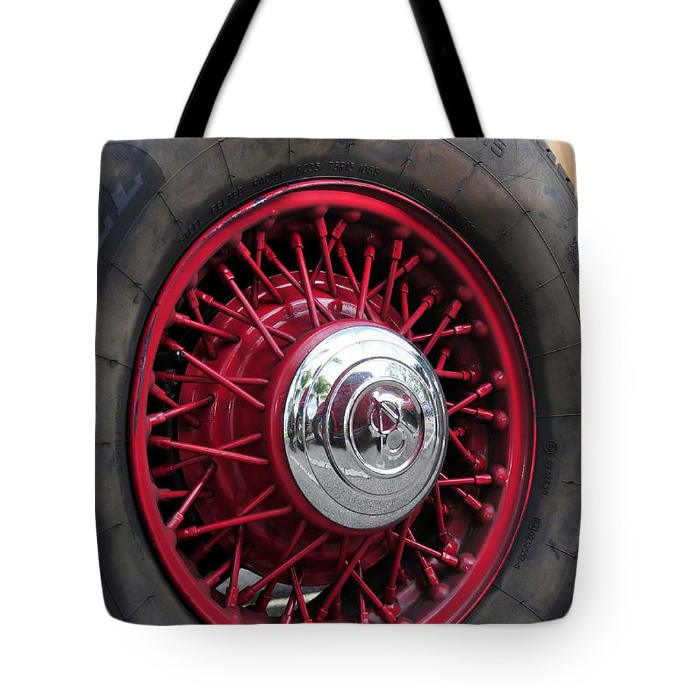 Oldsmobile Tote Bag featuring the photograph V8 Wheels by David Lee Thompson