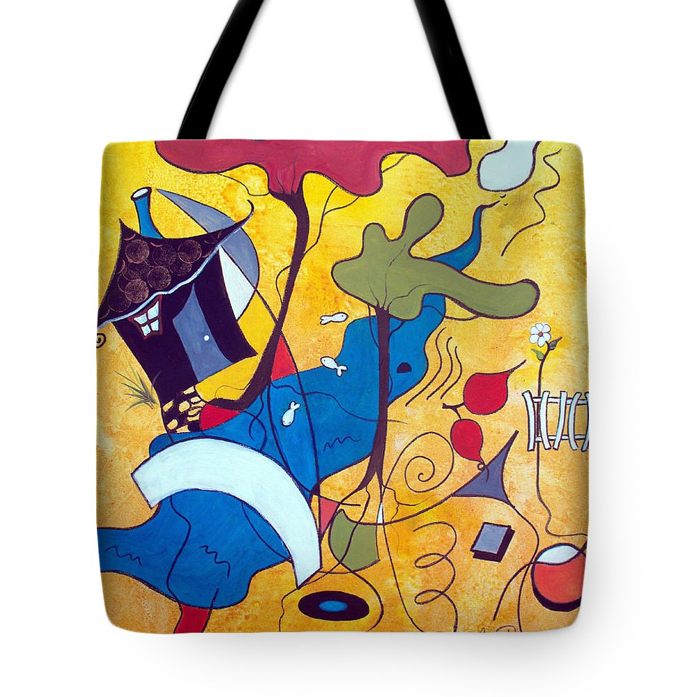 Abstract Tote Bag featuring the painting Vacation Home by Ruth Palmer