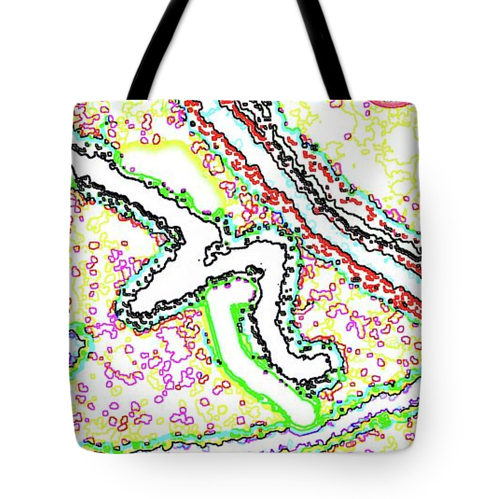Abstract Tote Bag featuring the digital art Vaguely Aware by Yshua The Painter
