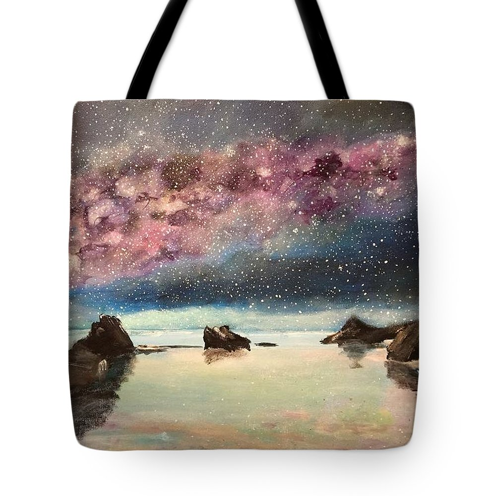 Landscape Tote Bag featuring the painting Valentine Disaster by Nohemi James