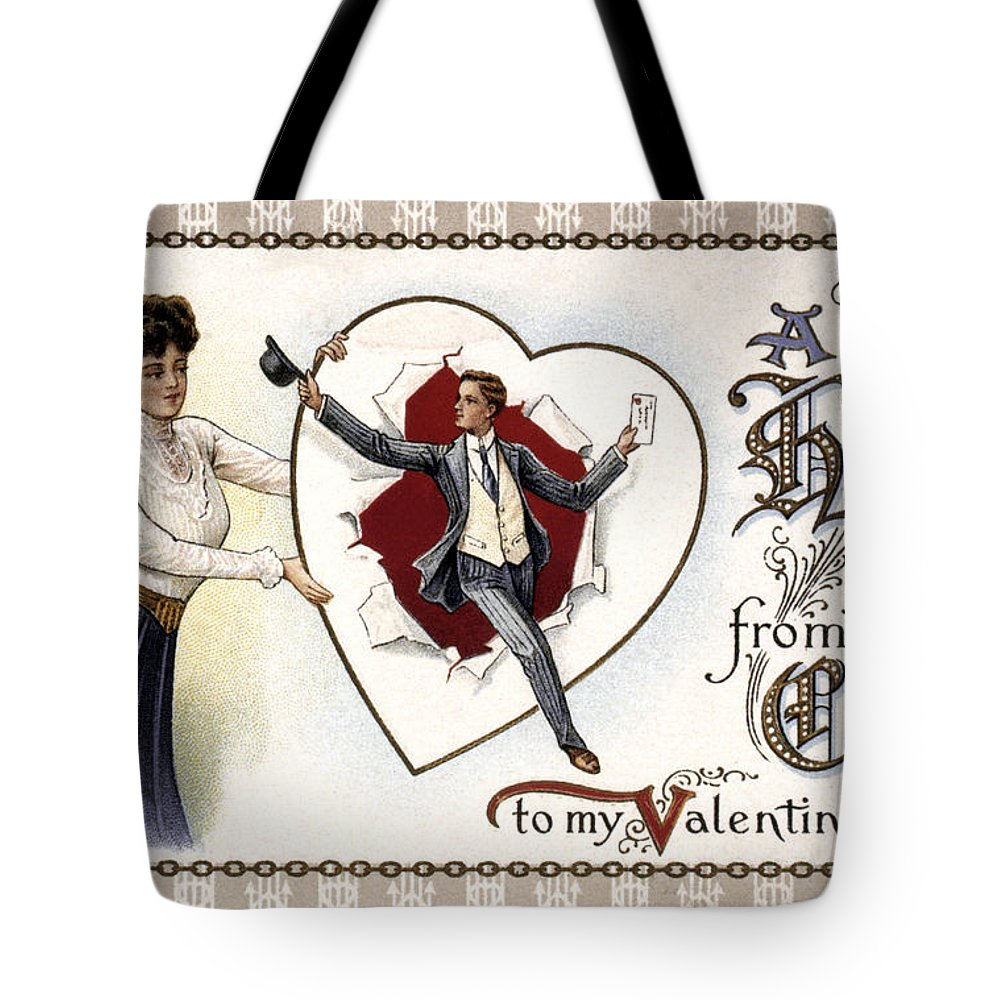1909 Tote Bag featuring the photograph Valentines Day Card, 1909 by Granger