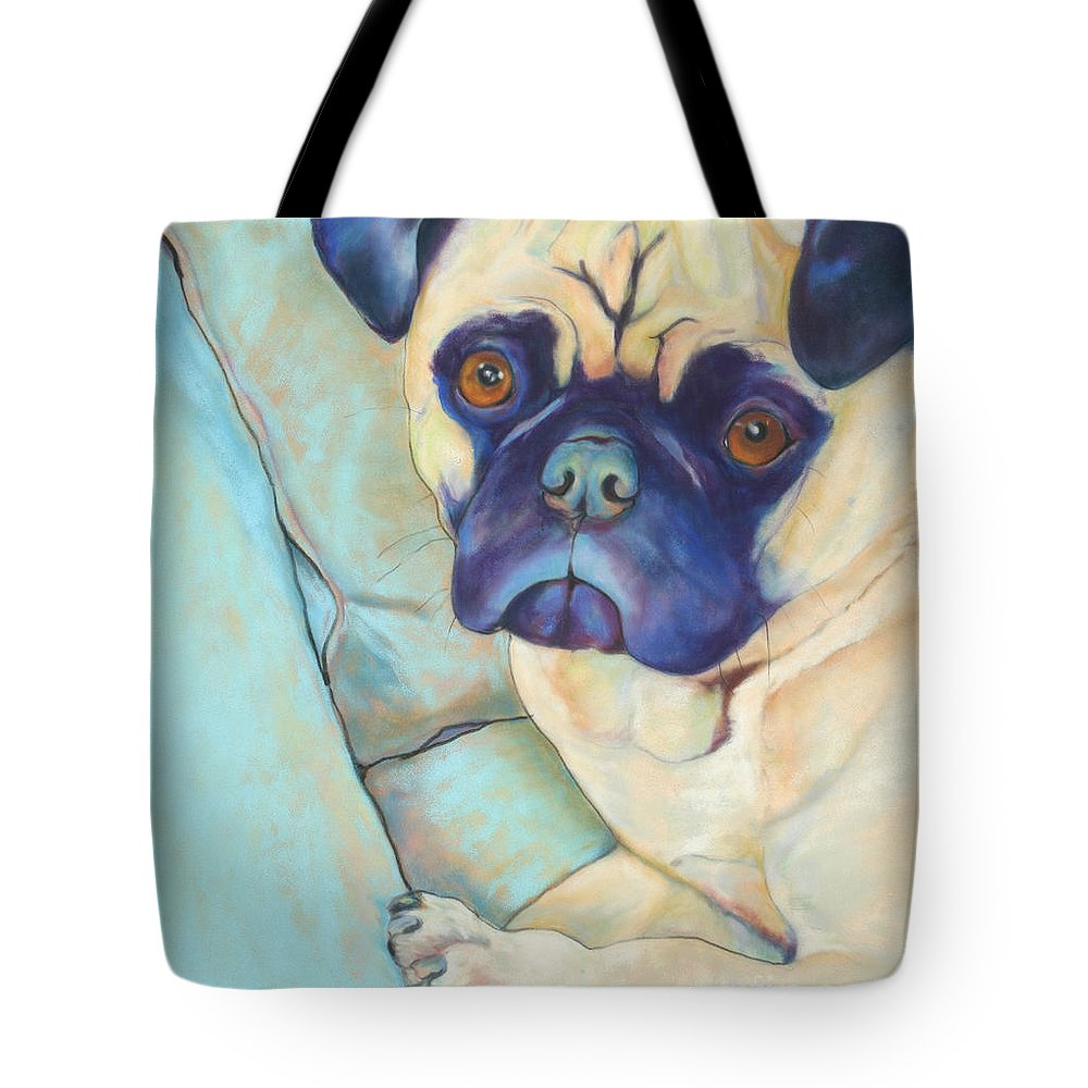 Pug Tote Bag featuring the pastel Valentino by Pat Saunders-White