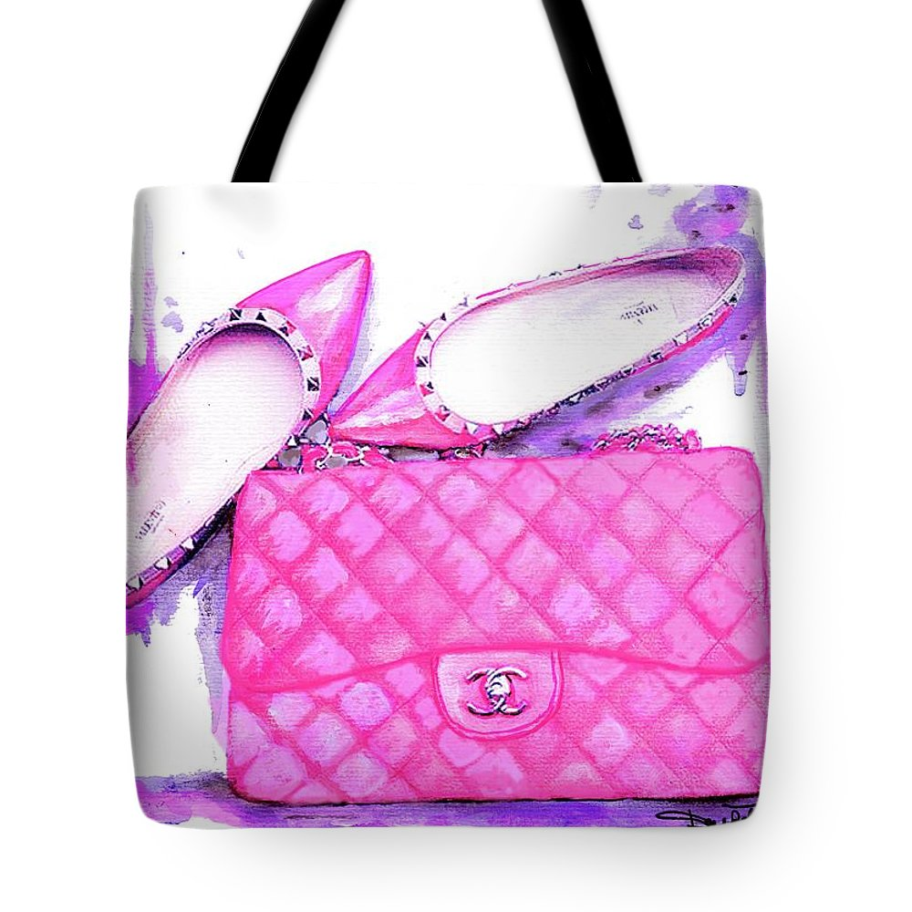 d0b98f9f3ed5 Chanel Pink Bag Tote Bag featuring the painting Valentino Shoes And Chanel  Bag Pink by Del