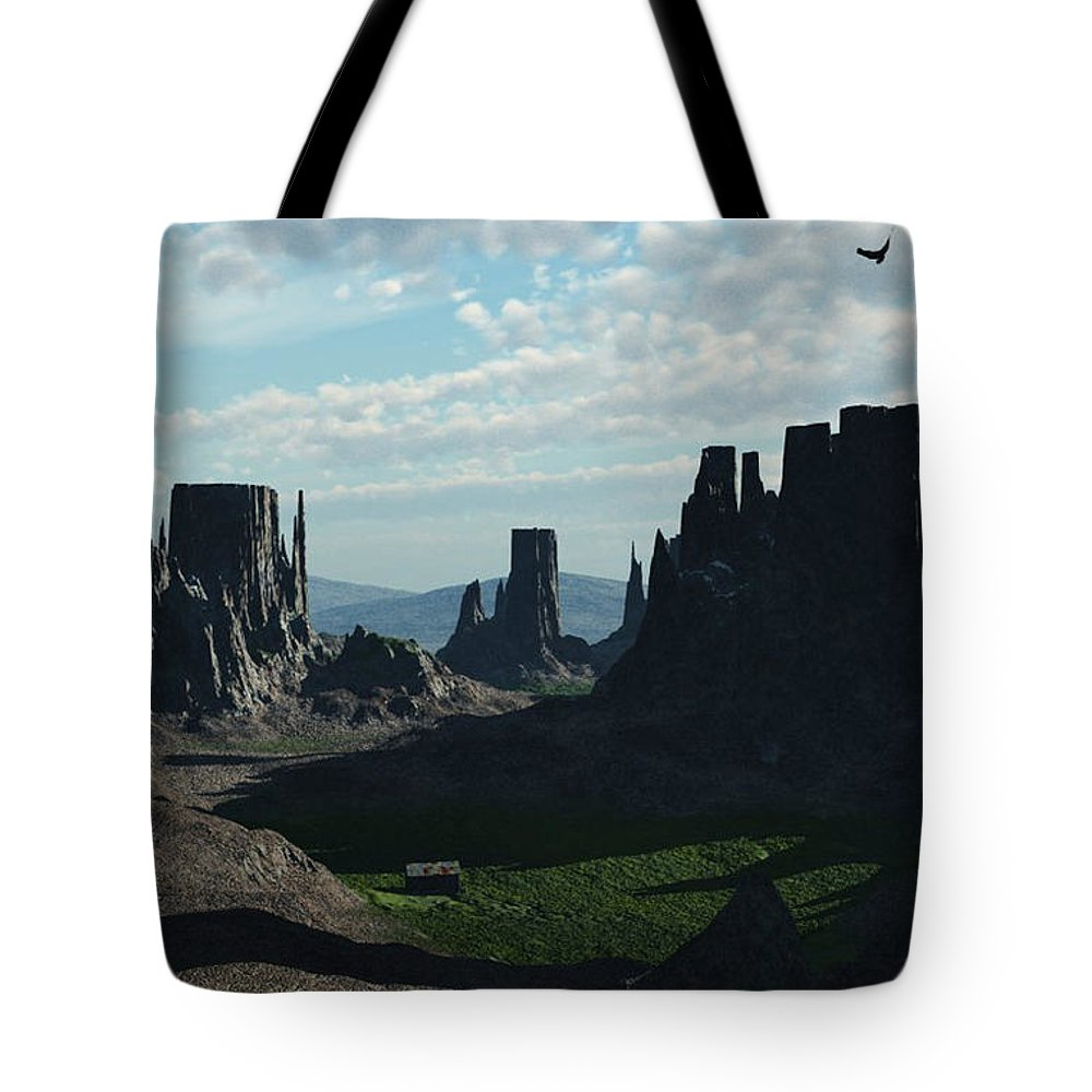 Valley Tote Bag featuring the digital art Valley Of The Kings by Richard Rizzo