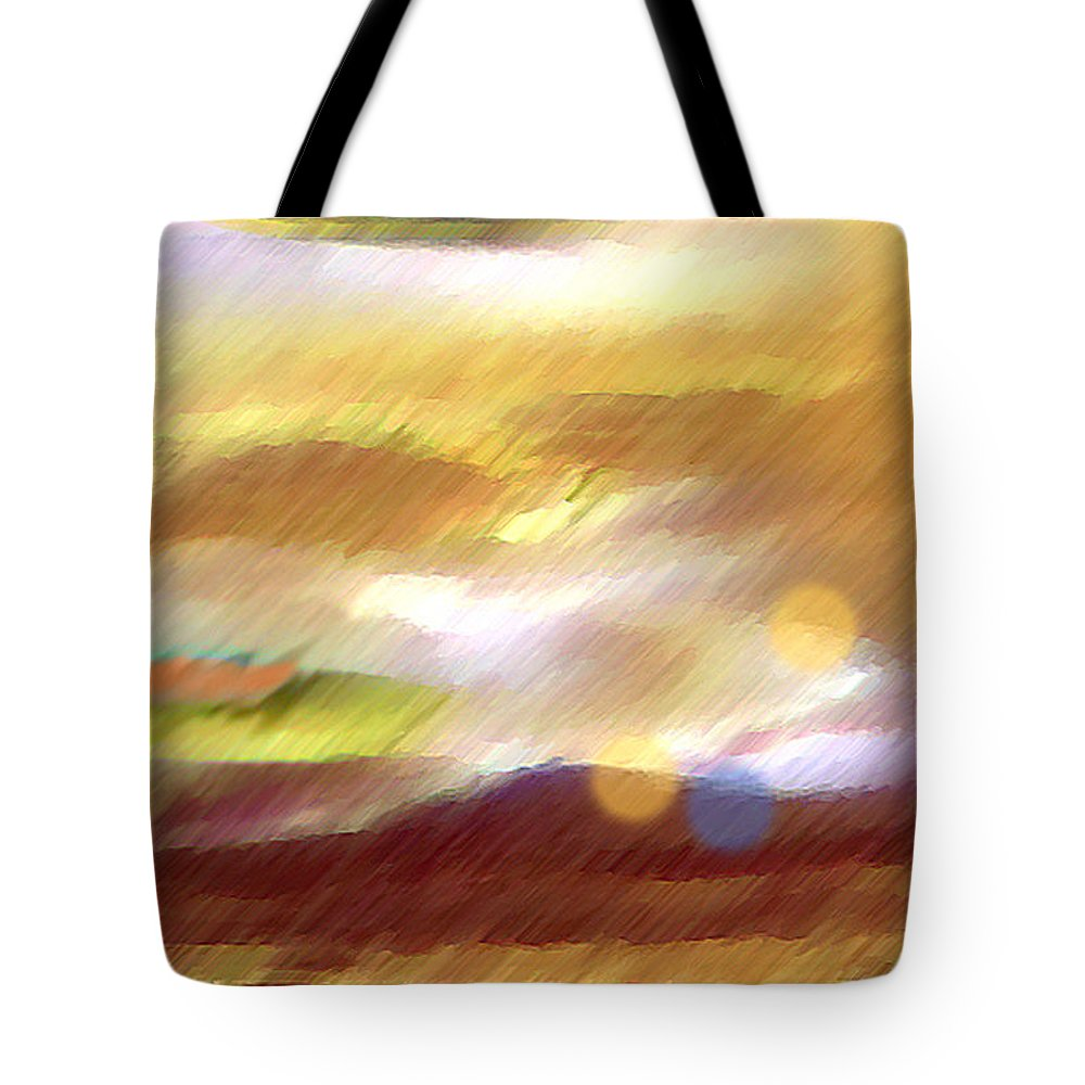 Landscape Tote Bag featuring the painting Valleylights by Anil Nene
