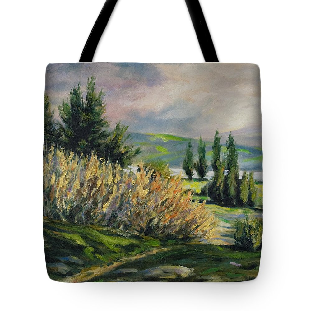 Trees Tote Bag featuring the painting Valleyo by Rick Nederlof