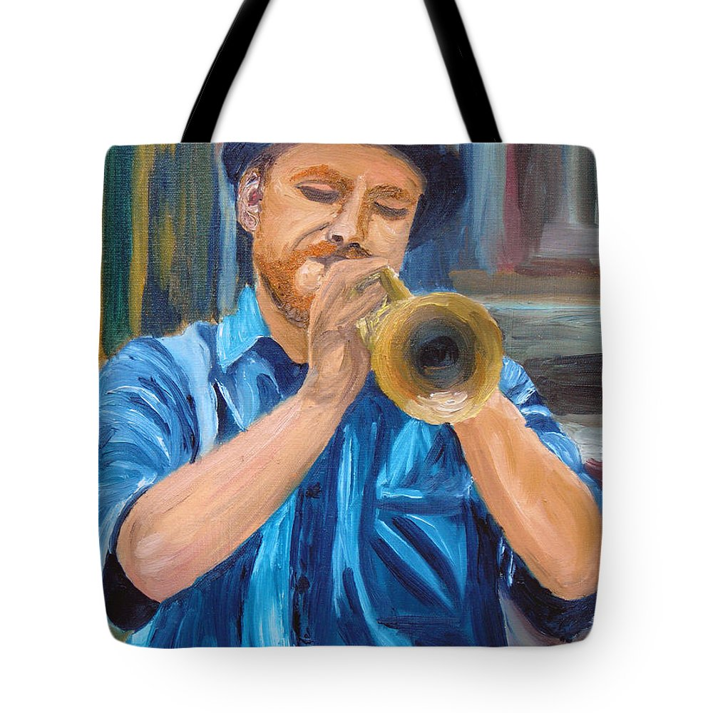 Musician Tote Bag featuring the painting Van Gogh Plays The Trumpet by Michael Lee