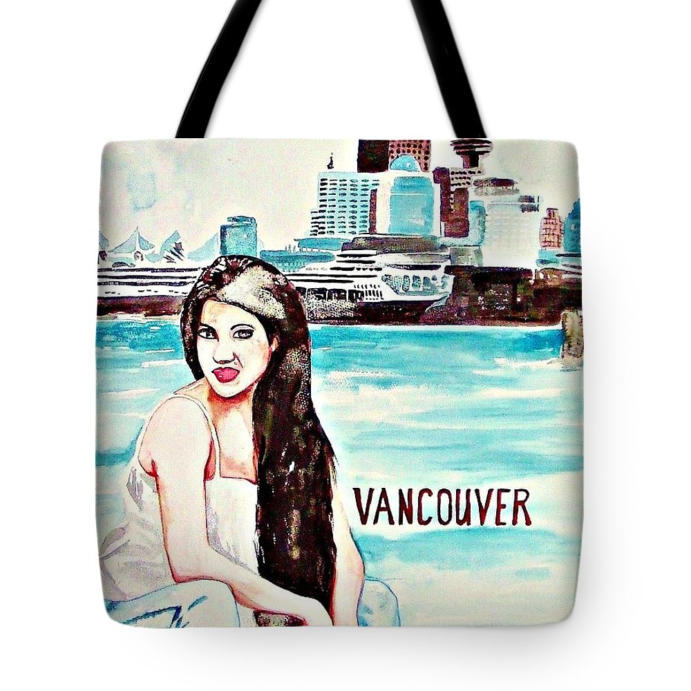 Vancouver British Columbia Woman Skyline Canada Cityscape Travel Tote Bag featuring the painting Vancouver 2009 by Ken Higgins