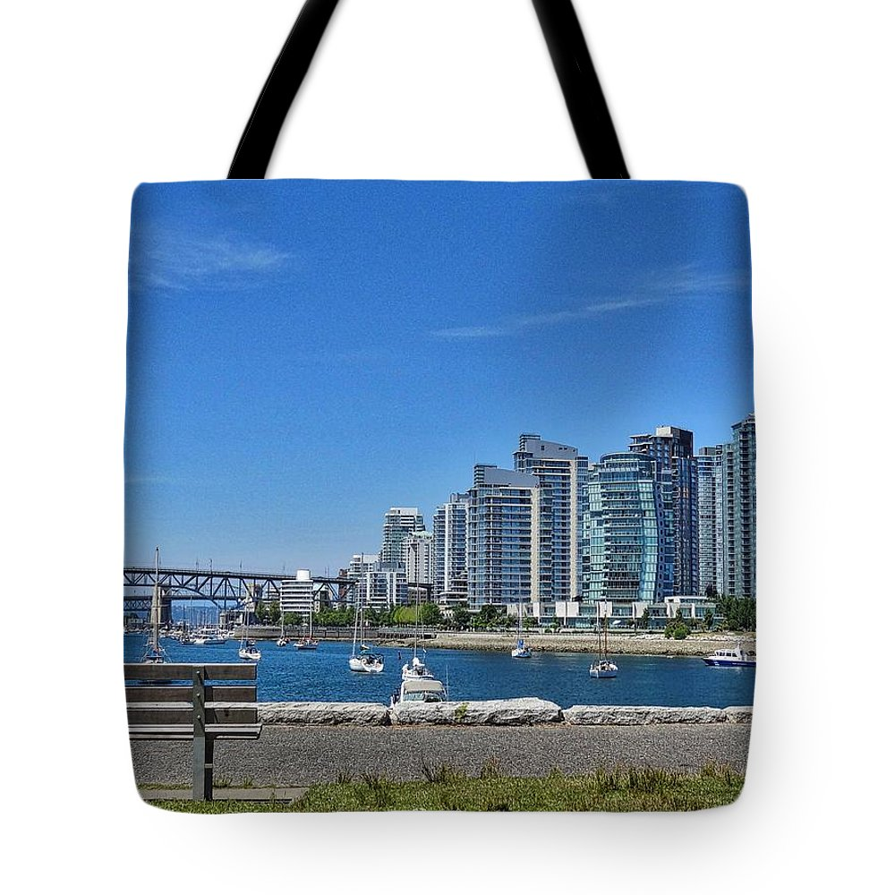 Vancouver Tote Bag featuring the photograph Vancouver Bench by Josee Lavallee