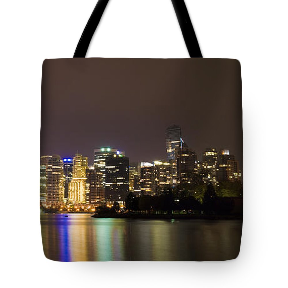 Vancouver Tote Bag featuring the photograph Vancouver By Night by Louise Magno
