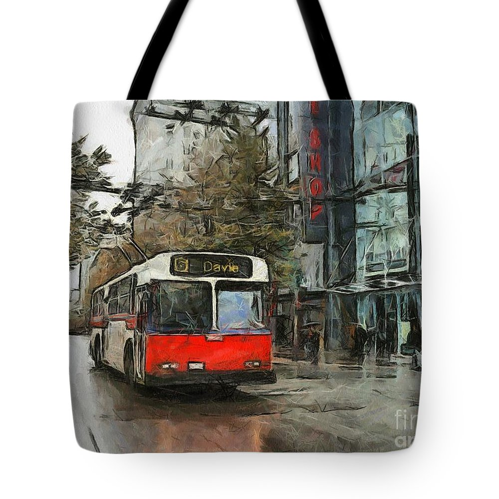 Vancouver Tote Bag featuring the painting Vancouver Streets by Murphy Elliott