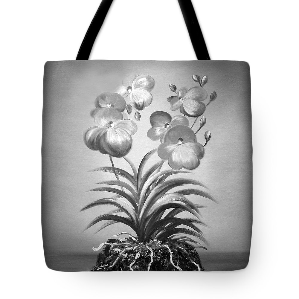 Black And White Tote Bag featuring the painting Vanda Orchids In Black And White by Gina De Gorna