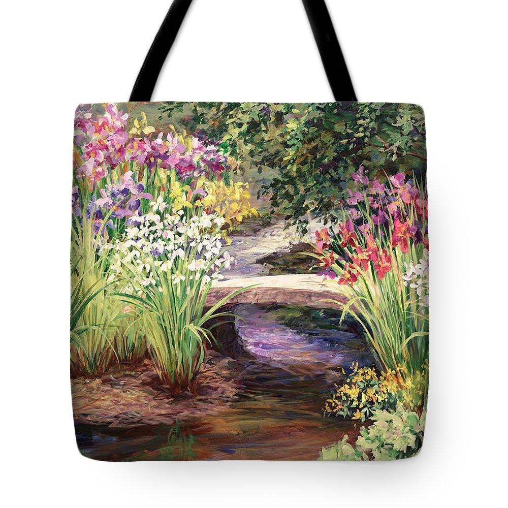 Landscape Tote Bag featuring the painting Vandusen Garden Iris Bridge by Laurie Snow Hein