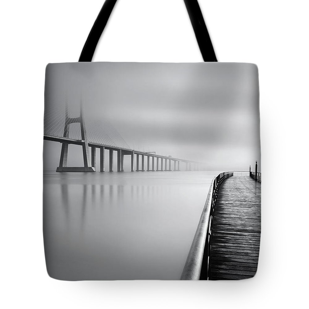 Lisbon Tote Bag featuring the photograph Vanishing by Jorge Maia