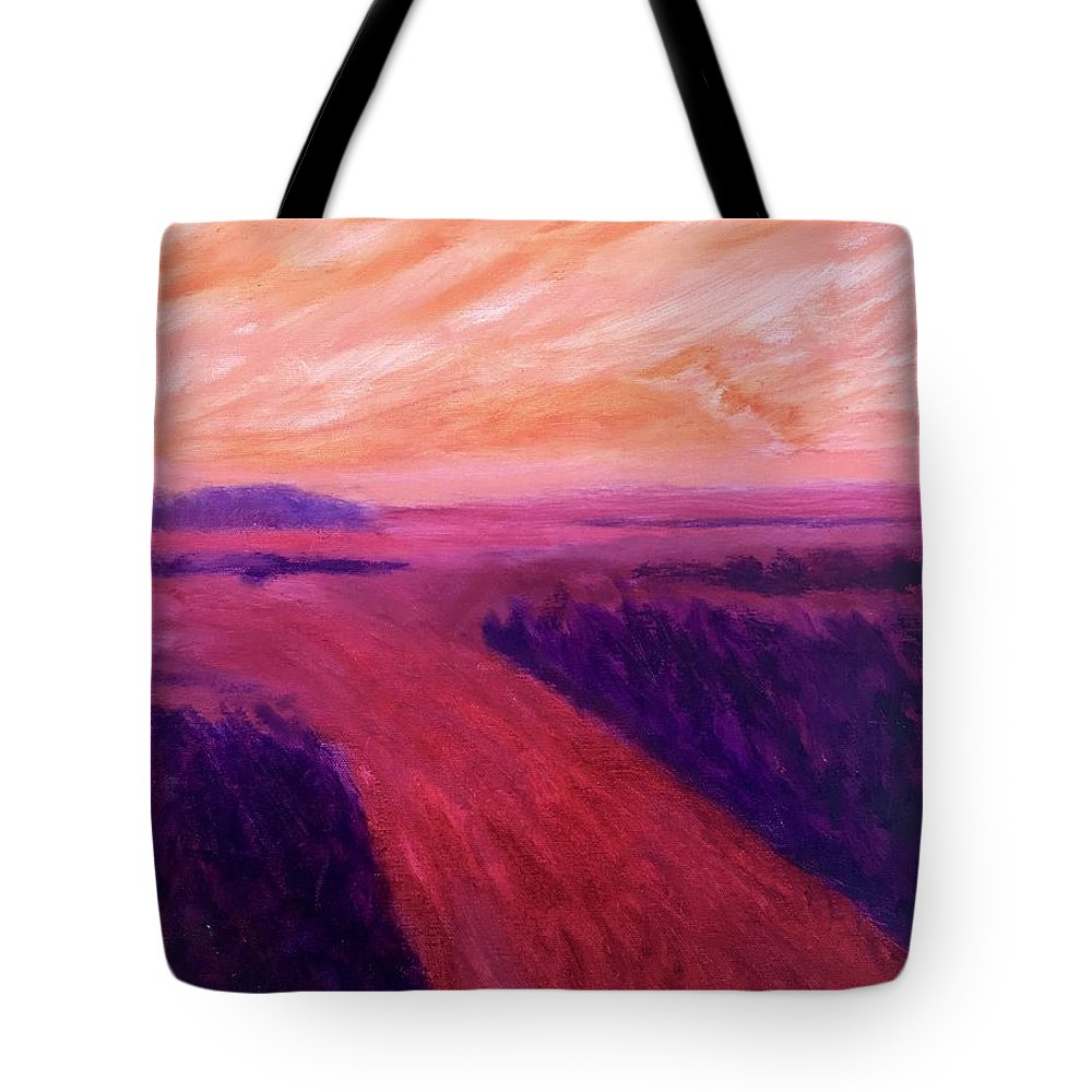 Rivers Water Orange Purple Magenta Wine Skies Tote Bag featuring the painting Vanishing by Suzanne Udell Levinger