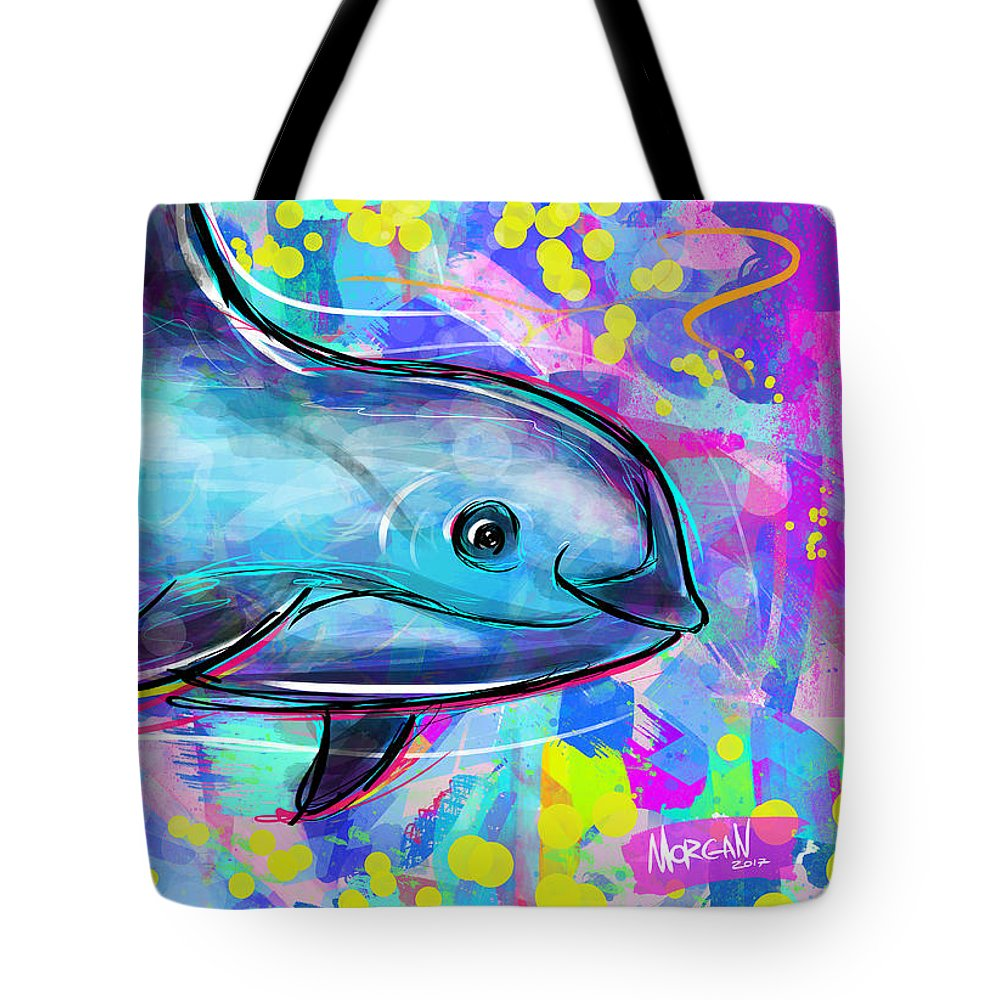 Ocean Tote Bag featuring the digital art Vaquita by Morgan Richardson