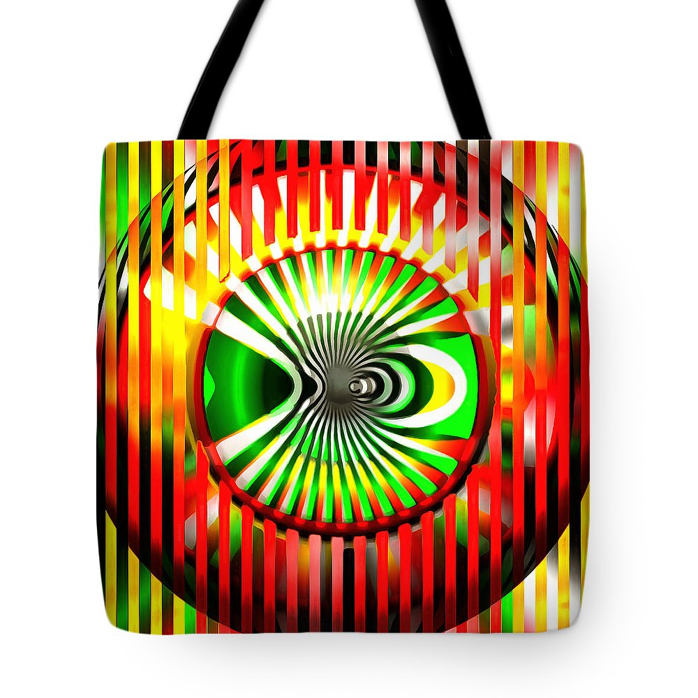 Abstract Design Tote Bag featuring the digital art Vasarely Universe by Mario Carini