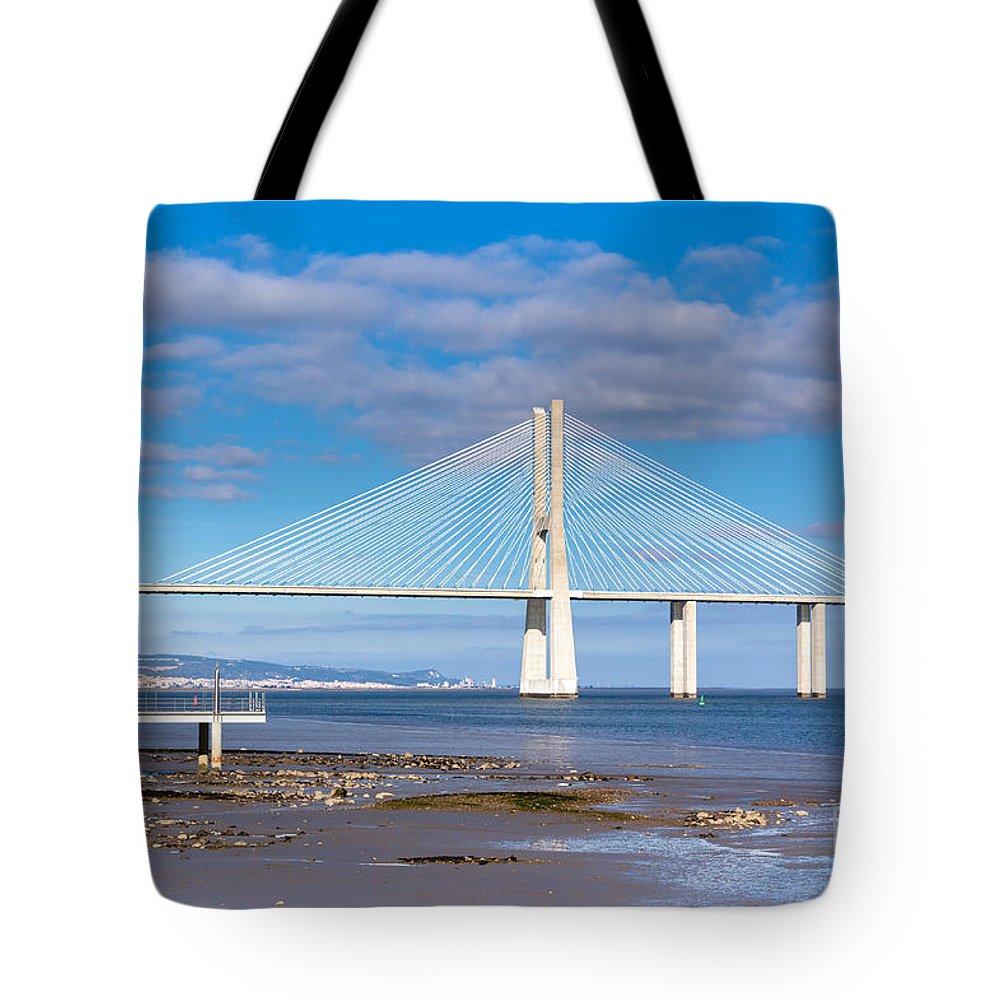 Contemporary Tote Bag featuring the photograph Vasco Da Gama Bridge by Dvoevnore Photo