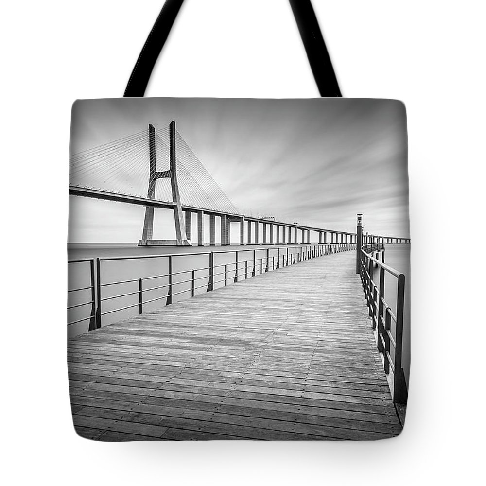 Architecture Tote Bag featuring the photograph Vasco Da Gama Bridge by Lev Savitskiy