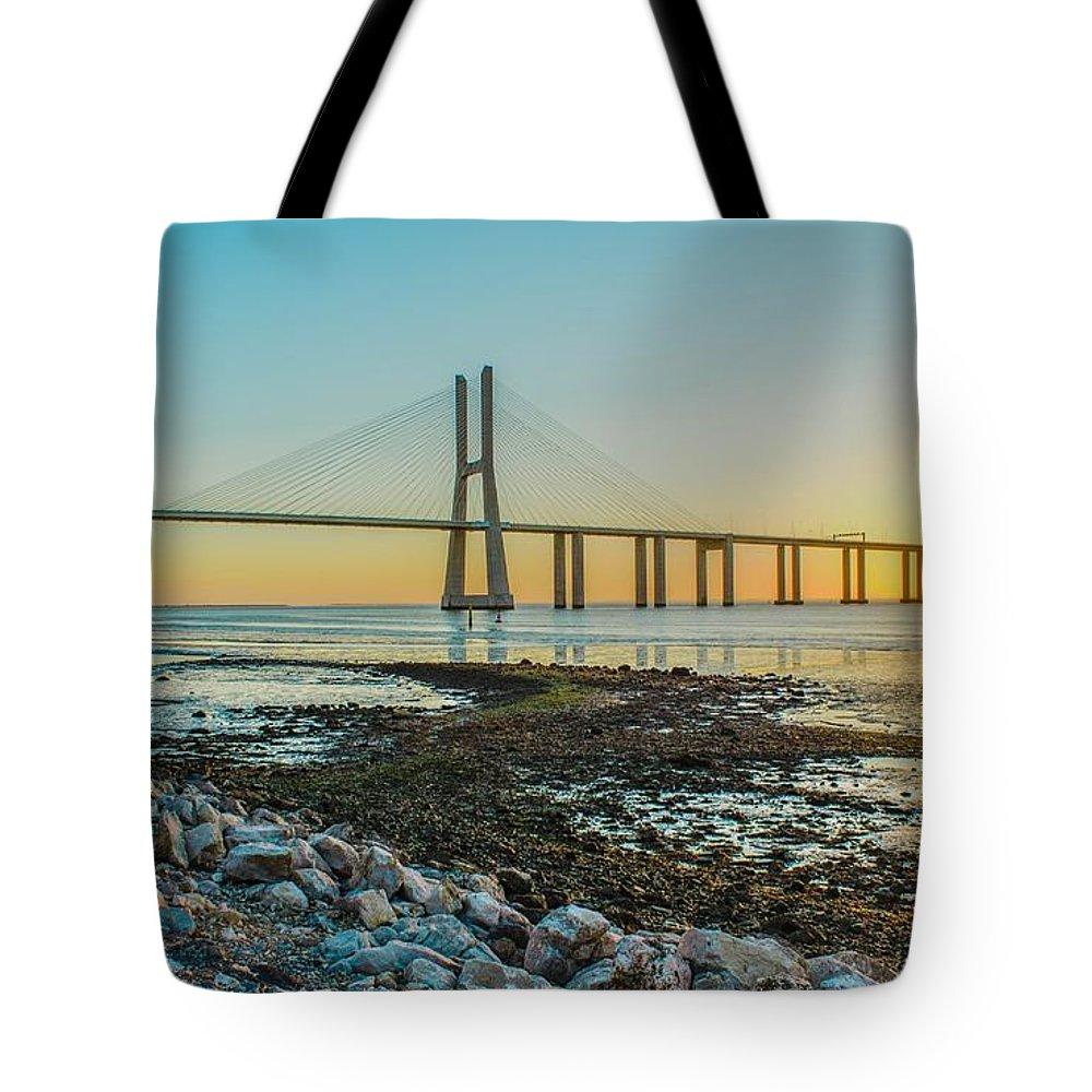 Vasco Da Gama Bridge Tote Bag featuring the digital art Vasco Da Gama Bridge by Lissa Barone