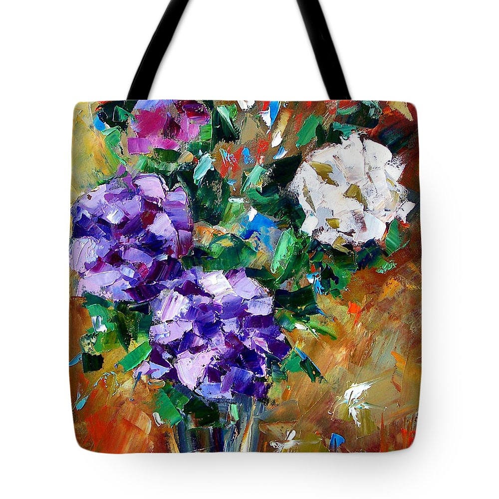 Flowers Tote Bag featuring the painting Vase Of Color by Debra Hurd
